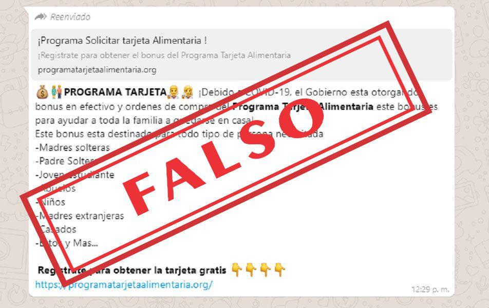 Advierten sobre un falso mensaje que circula por WhatsApp sobre el Programa Alimentar