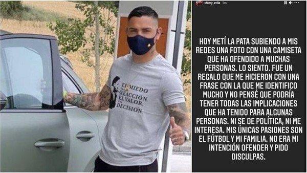 """revuelo-en-espana-con-un-goleador-argentino:-""""chimy""""-avila-poso-con-una-remera-de-la-ultraderecha-y-tuvo-que-pedir-perdon"""